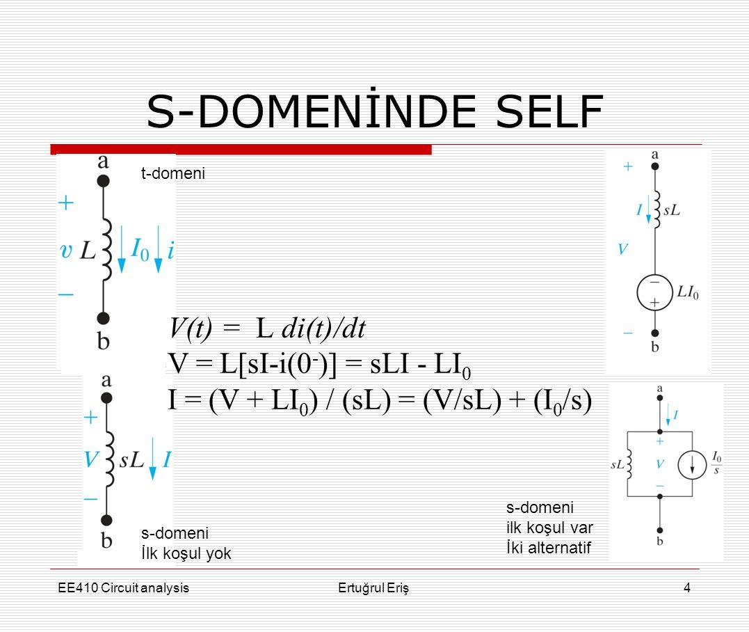 S-DOMENİNDE SELF V(t) = L di(t)/dt V = L[sI-i(0-)] = sLI - LI0